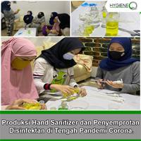 Produksi Hand Sanitizer dan Penyemprotan Disinfektan di Tengah Pandemi Corona.